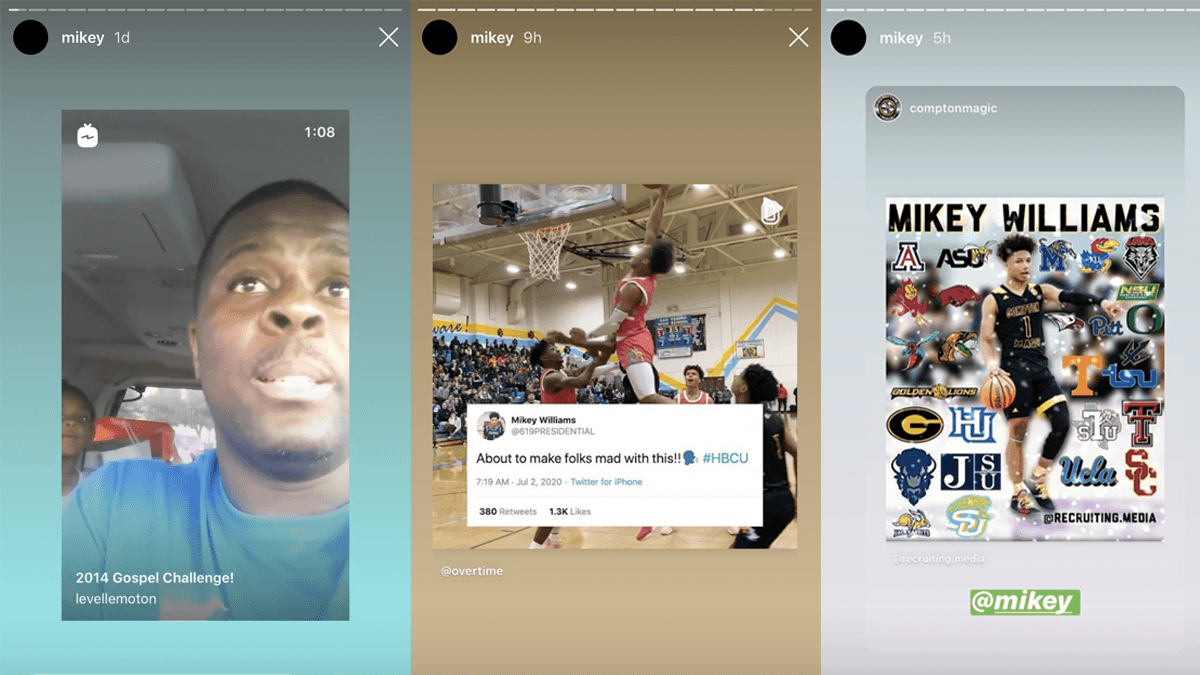 Mikey Williams social media posts