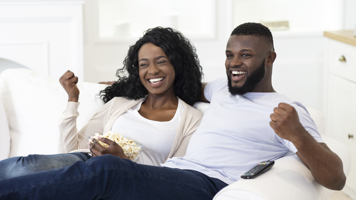HBCU Couple watching TV